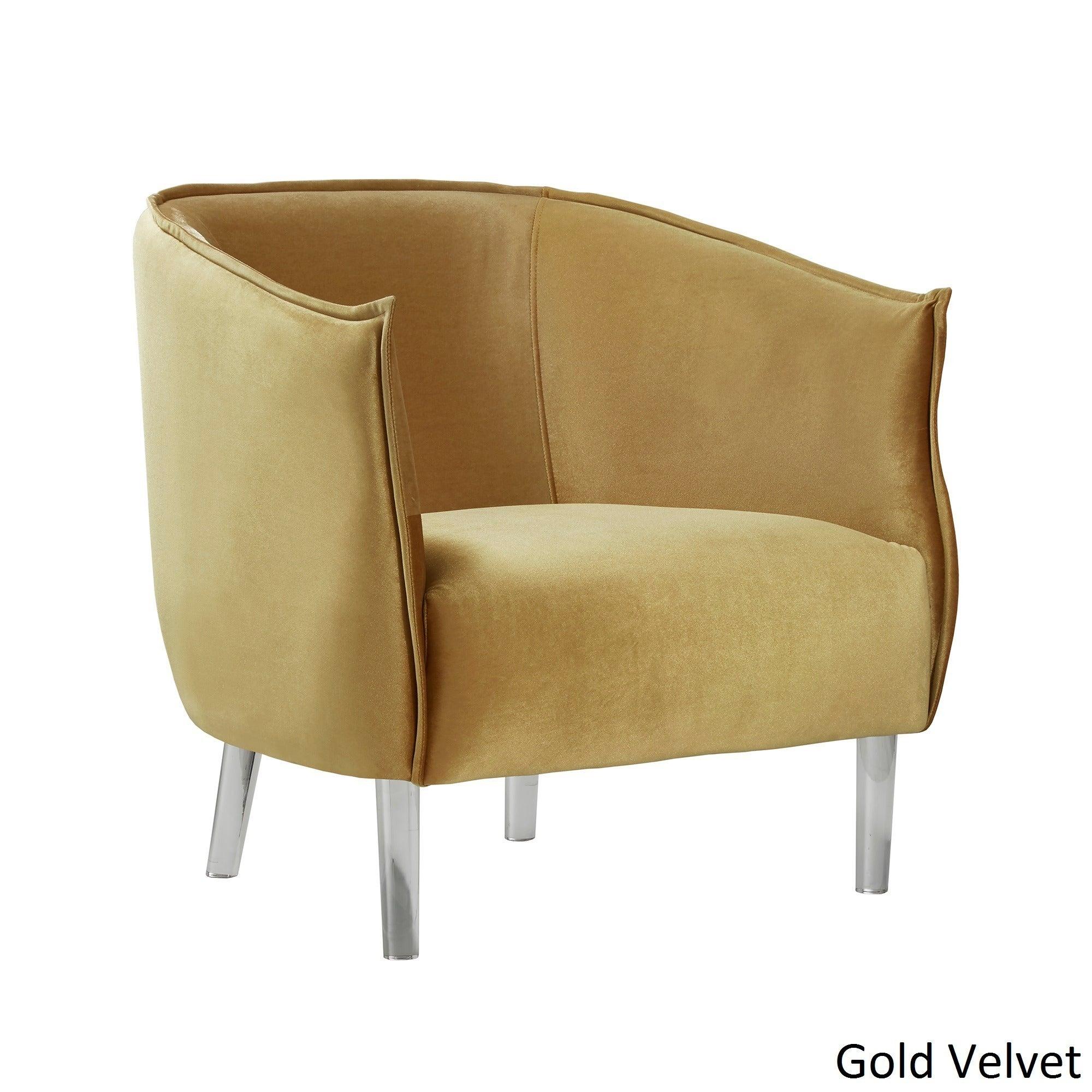 Vianne Velvet Curved Back Acrylic Leg Accent Chair