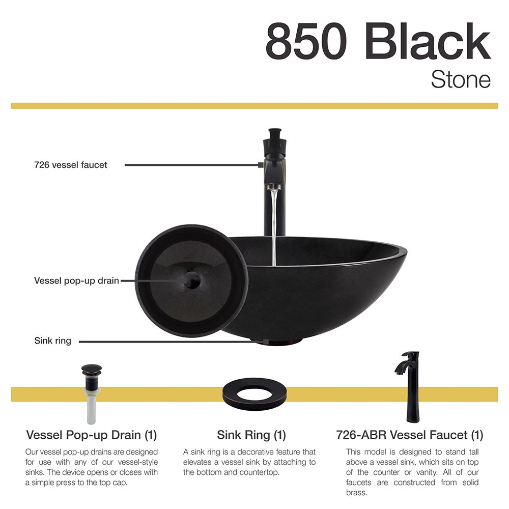 Amazing 850 Black Granite Vessel Sink With Faucet Sink