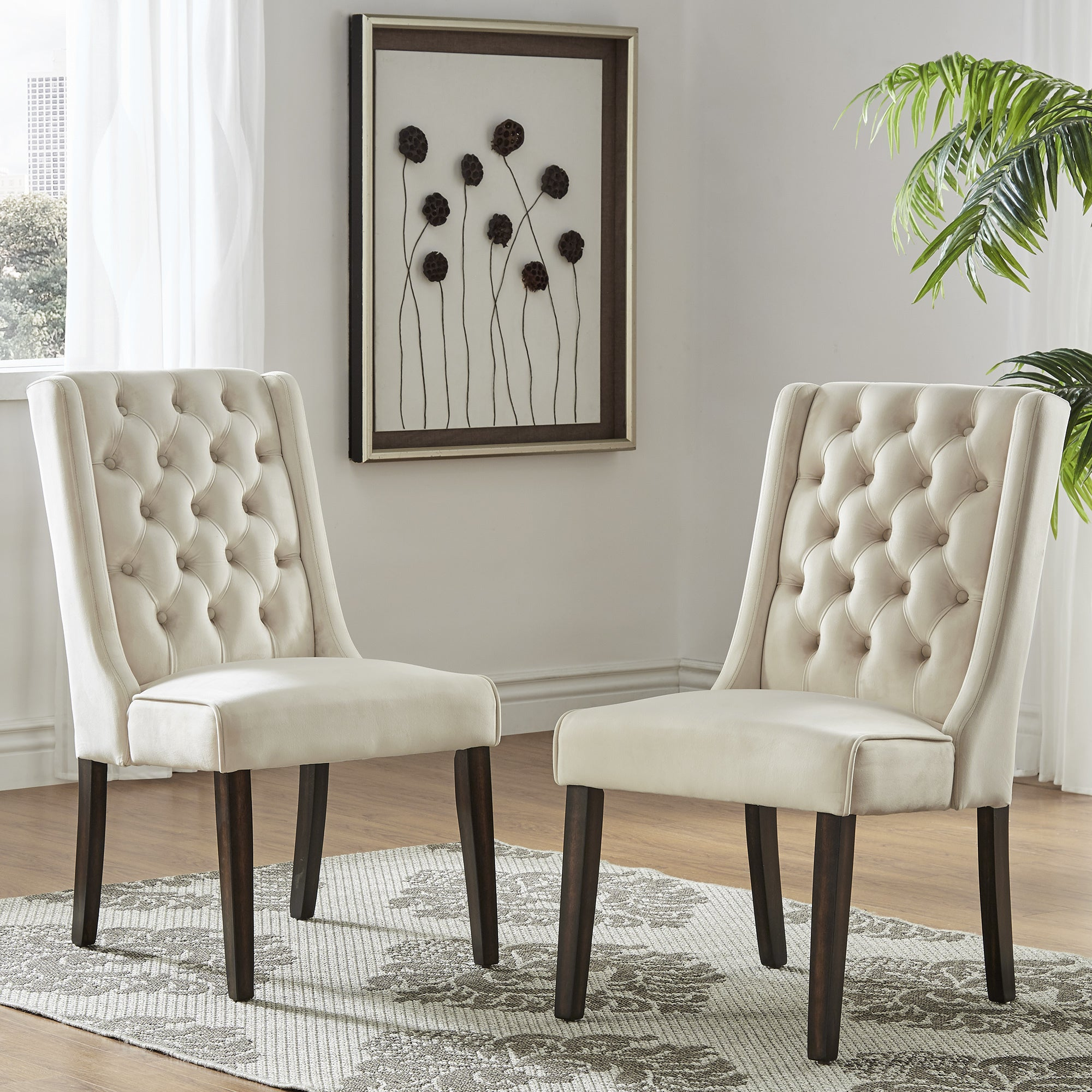 Evelyn II Velvet Tufted Wingback Hostess Chairs Set