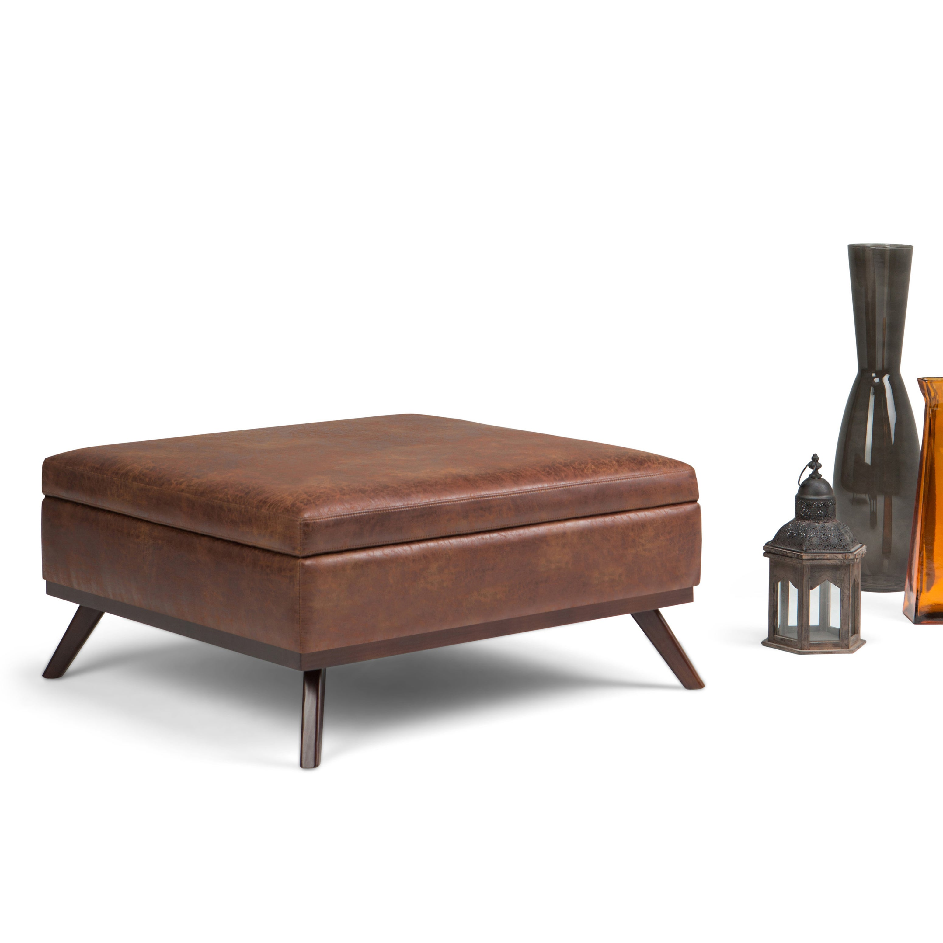 wyndenhall ethan large mid century square coffee table ottoman with storage ebay. Black Bedroom Furniture Sets. Home Design Ideas