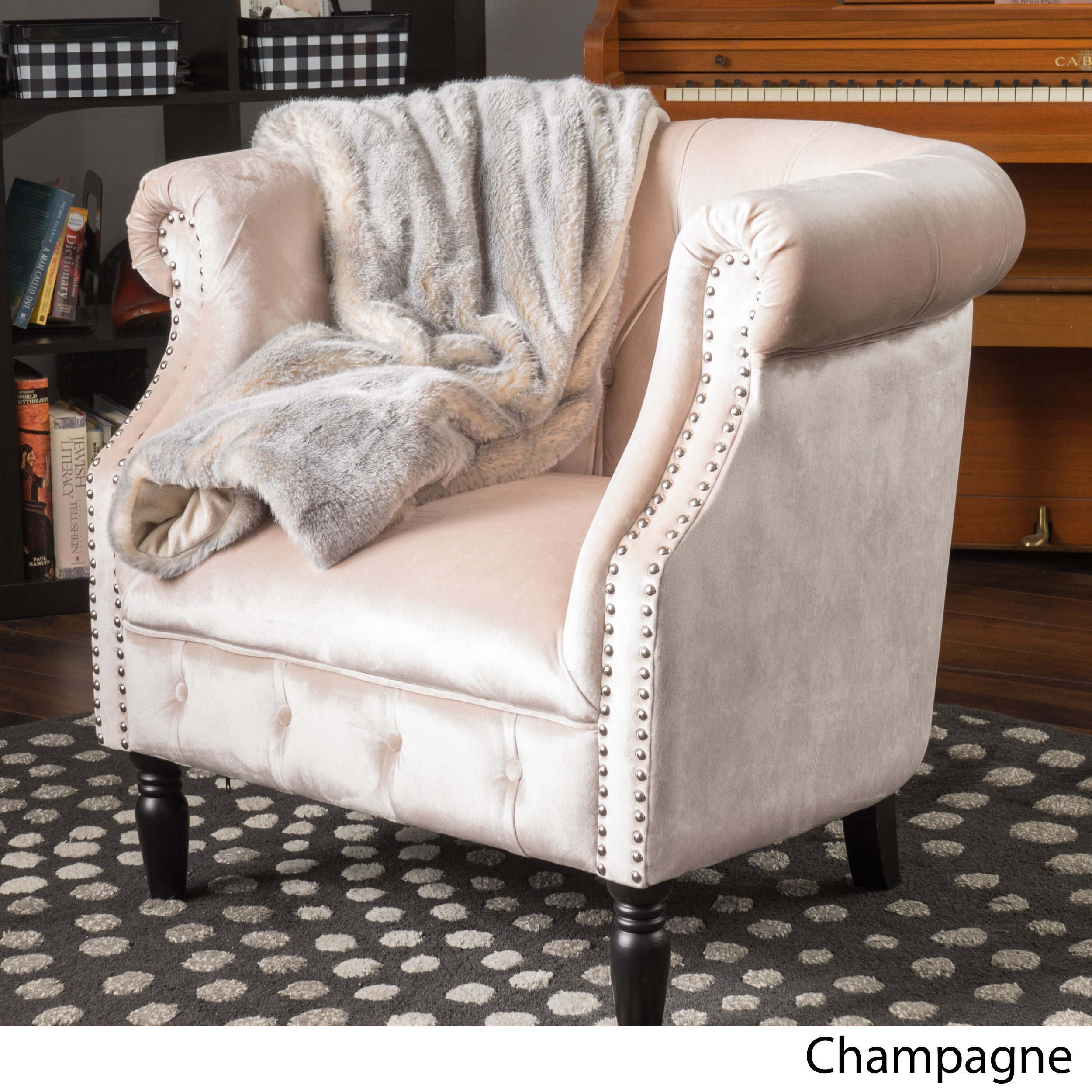Charmant Akira Velvet Club Chair By Christopher Knight Home