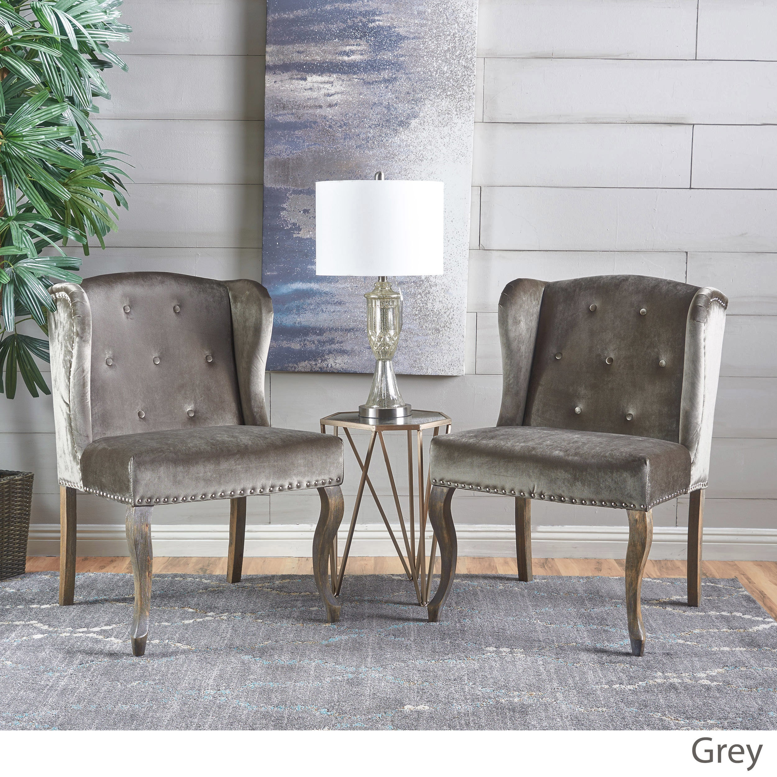 Niclas Velvet Wingback Chair Set Of 2 By