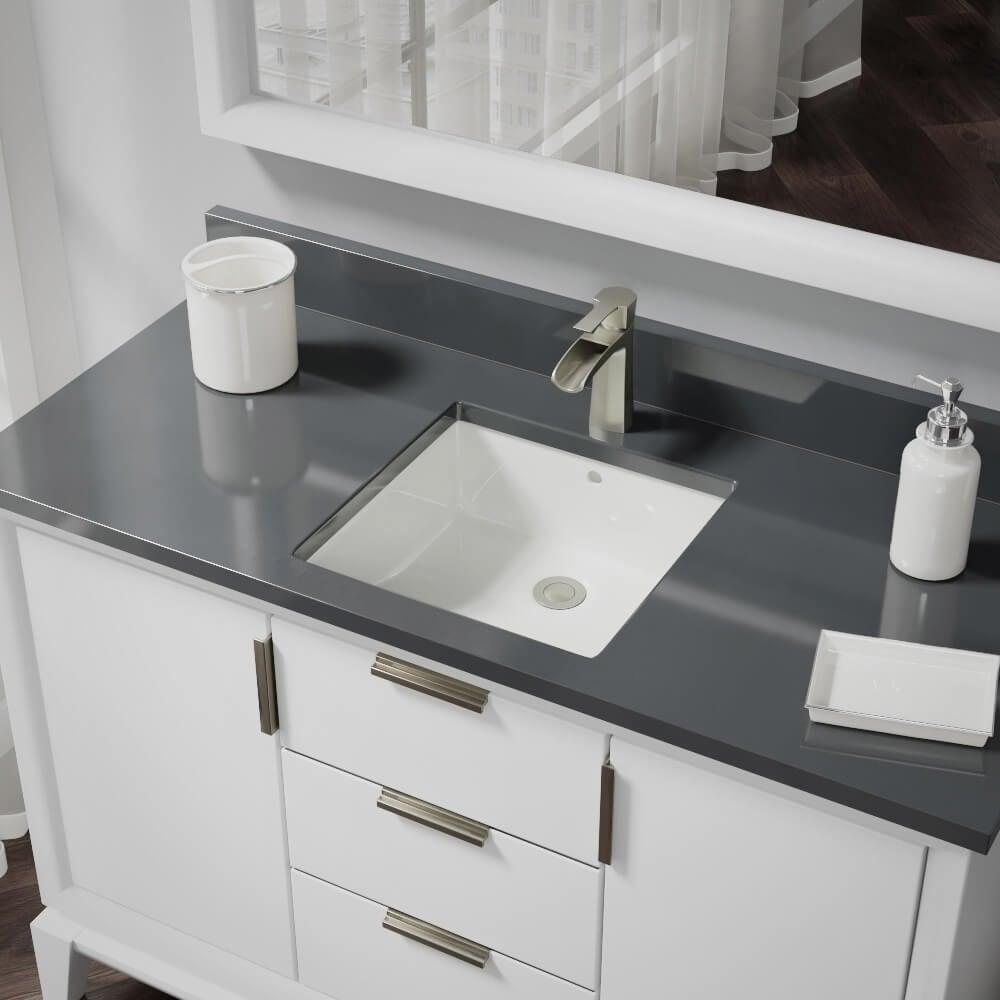 R2 1003 B Biscuit Square Porcelain Bathroom Sink