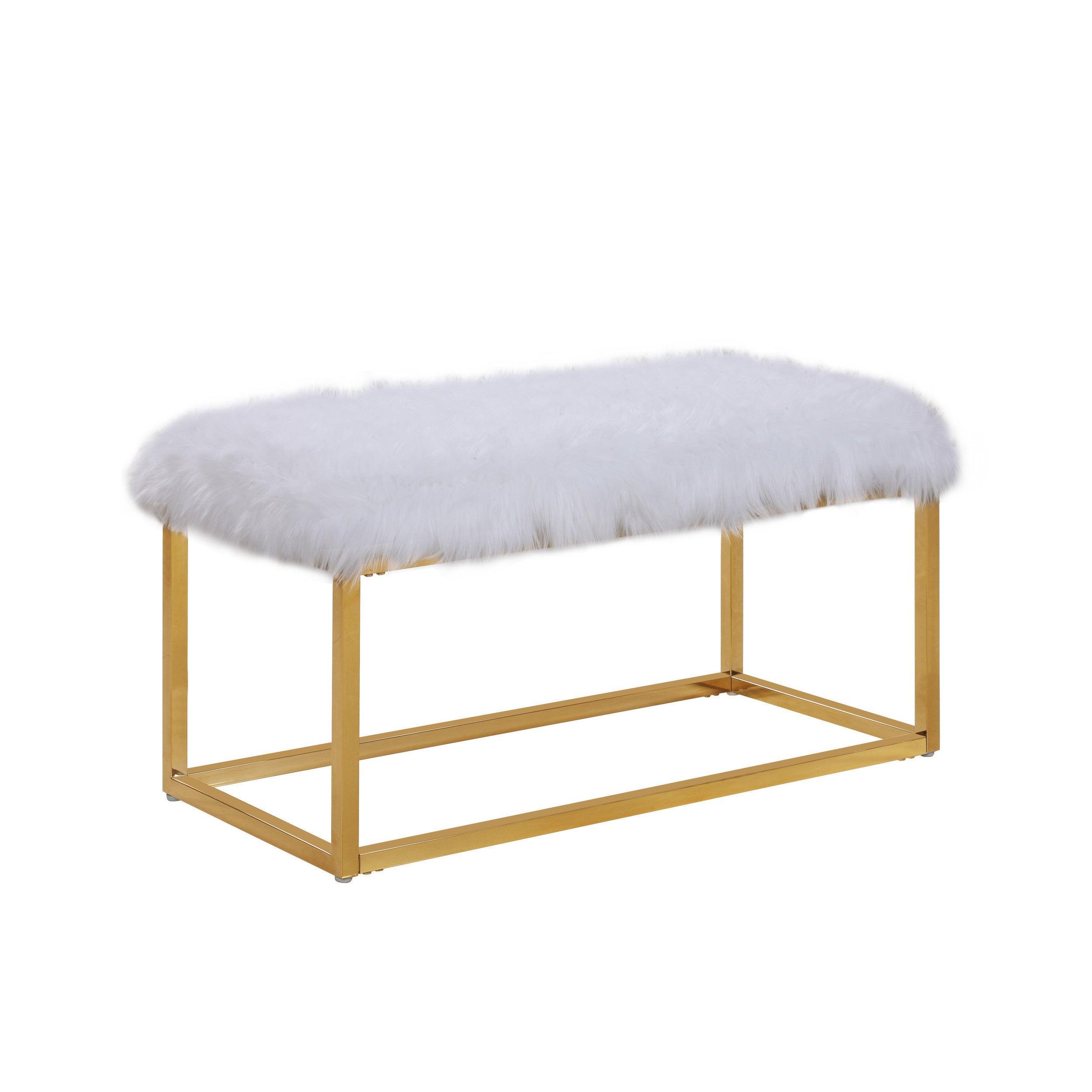 Chic Home Carolyn Fur Chrome Metal Frame Modern Luxe Ottoman Bench ...