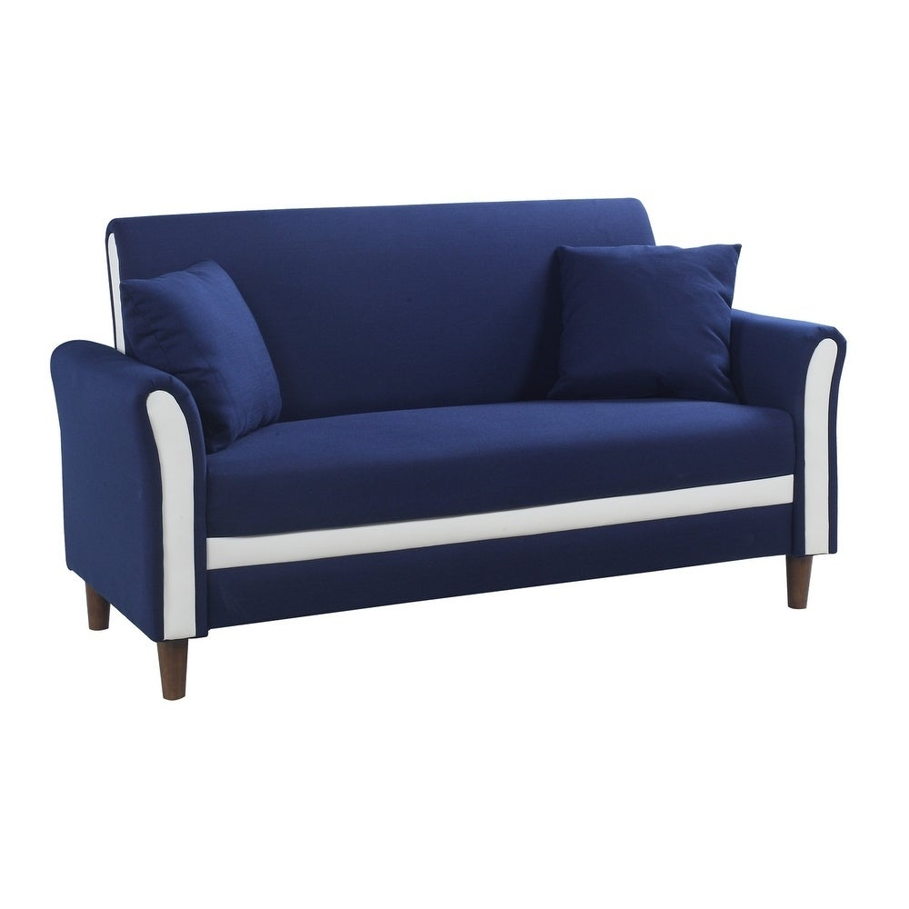 Modern Two Tone Loveseat Sofa/Two Seater Linen Upholstered