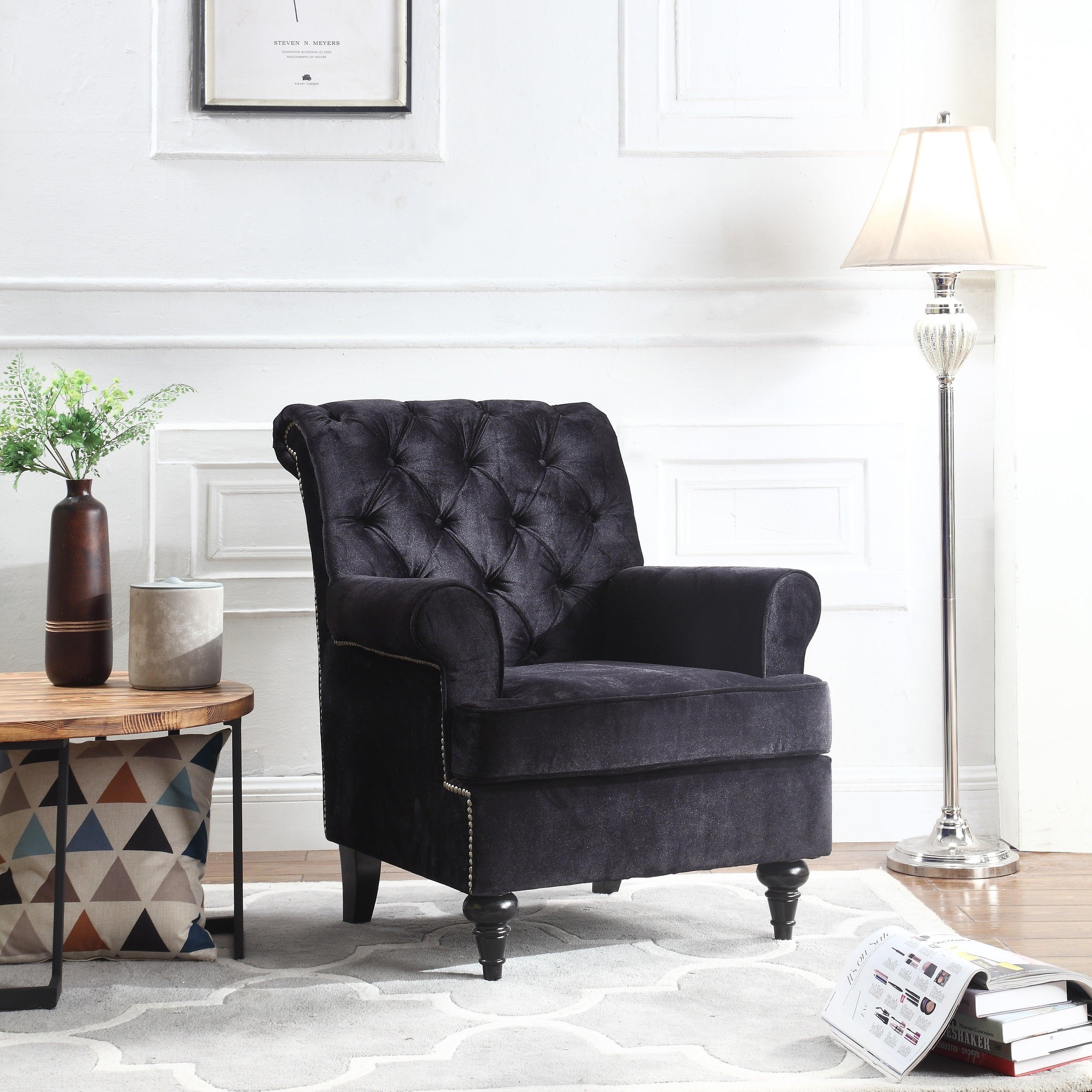 Classic Velvet Living Room Accent Chair Armchair Nailhead