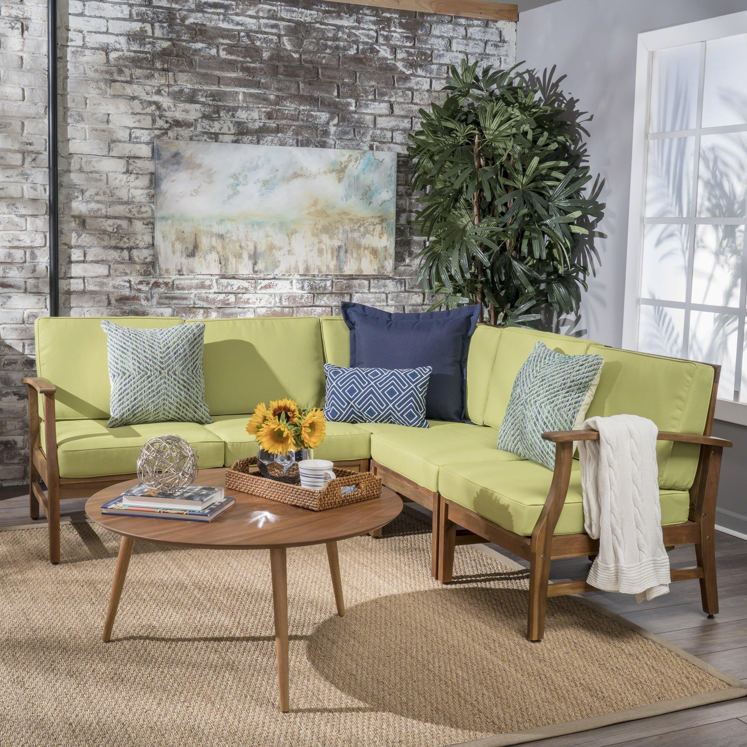 Ulrick Farmhouse Modern 5-piece Fabric Sectional Sofa Set