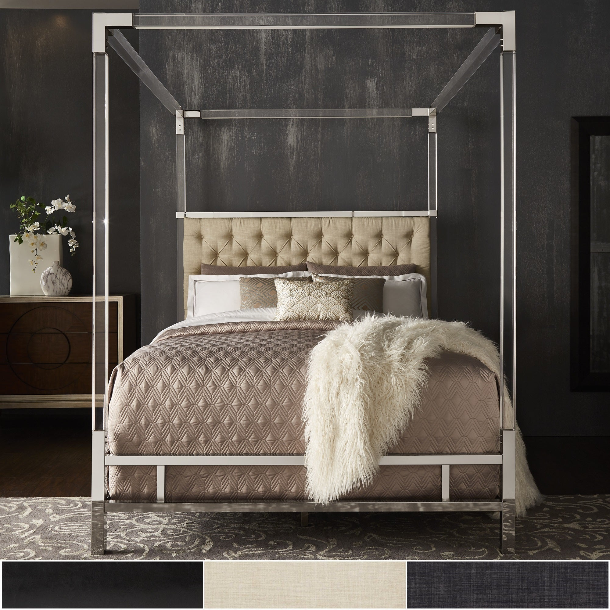 Reid Acrylic And Chrome Canopy Bed With Tufted