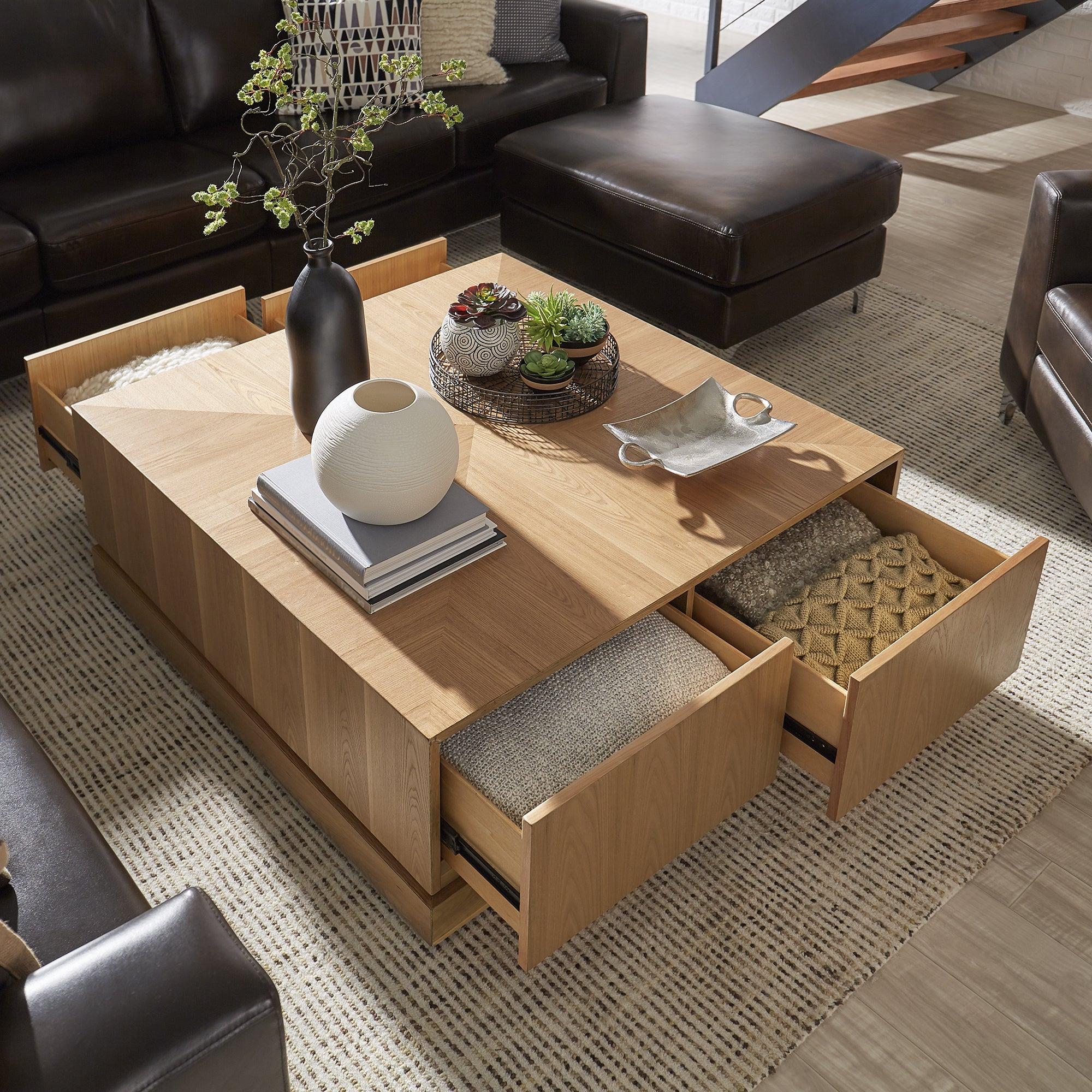 Hadley 4-Drawer Mid-Century Wood Coffee Table By INSPIRE Q