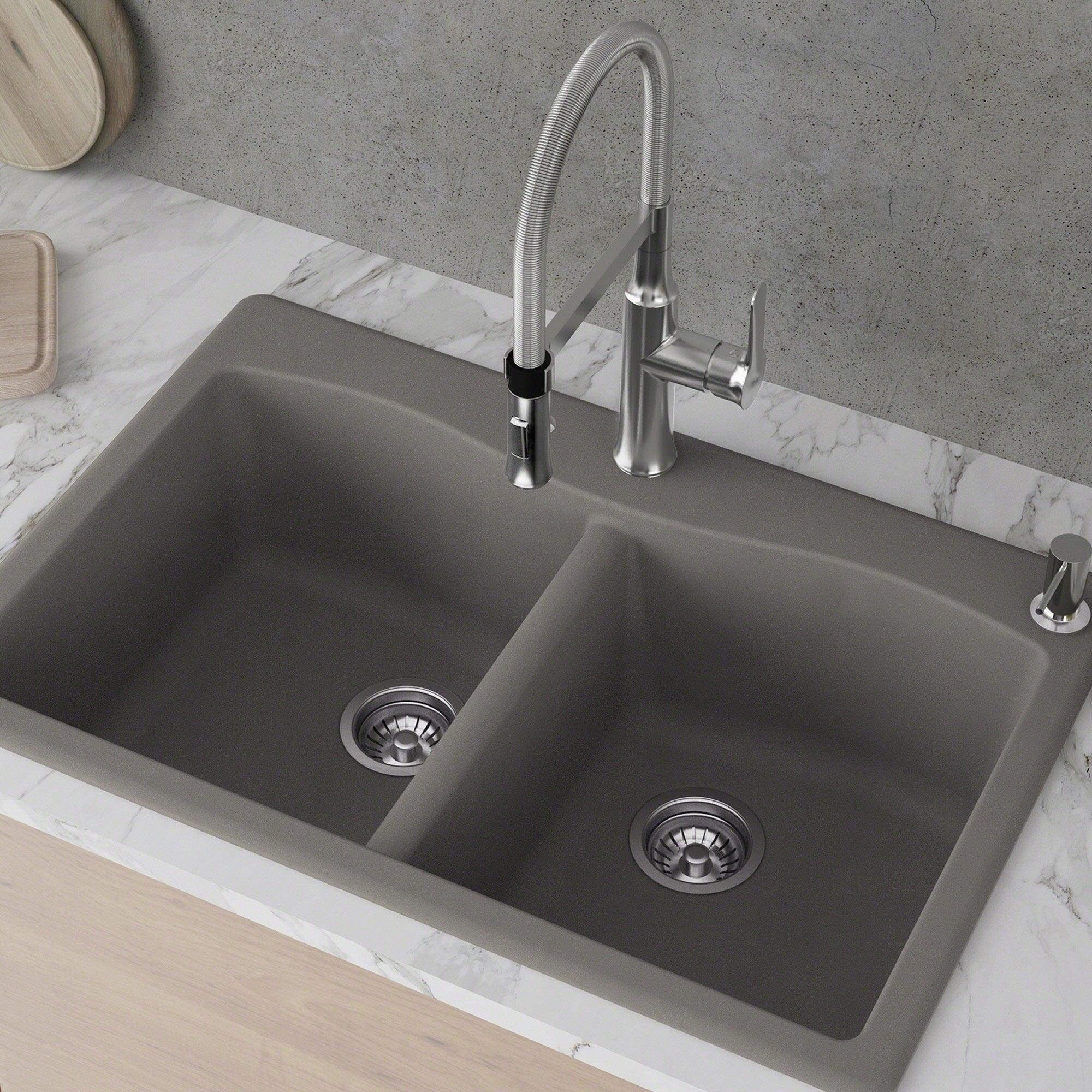 Drop In Kitchen Sink | Kraus Kgd 52 Forteza 33 Inch Undermount Drop In Dual Mount 50 50