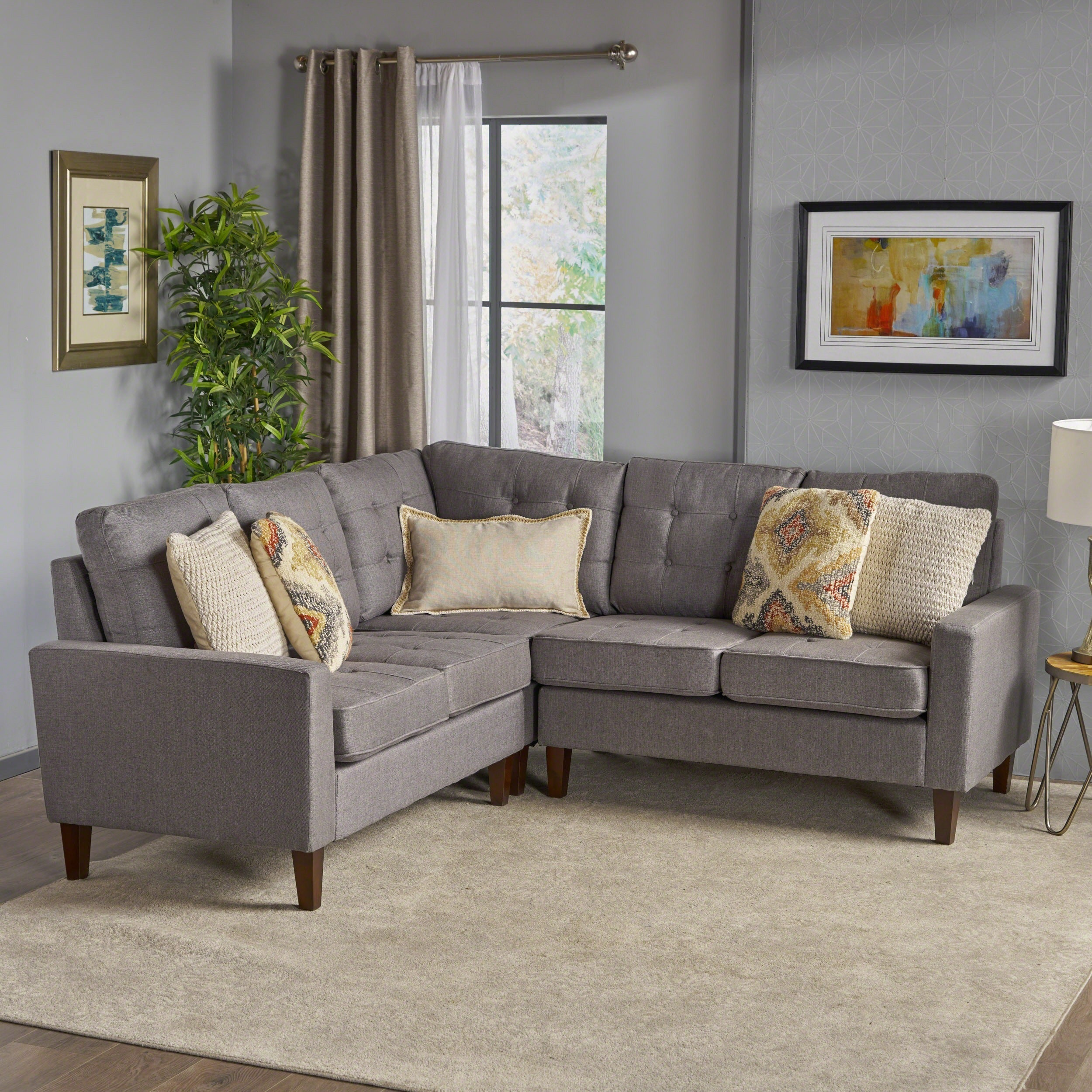 Nasir Mid Century Modern 3 Piece Sectional Sofa Set By