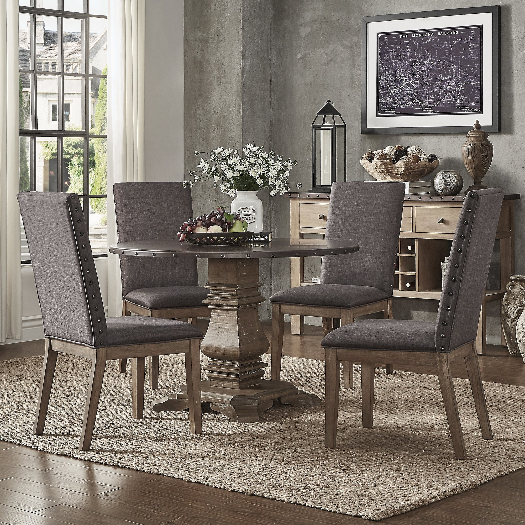 Janelle Round Rustic Zinc Dining Set Parson Chairs