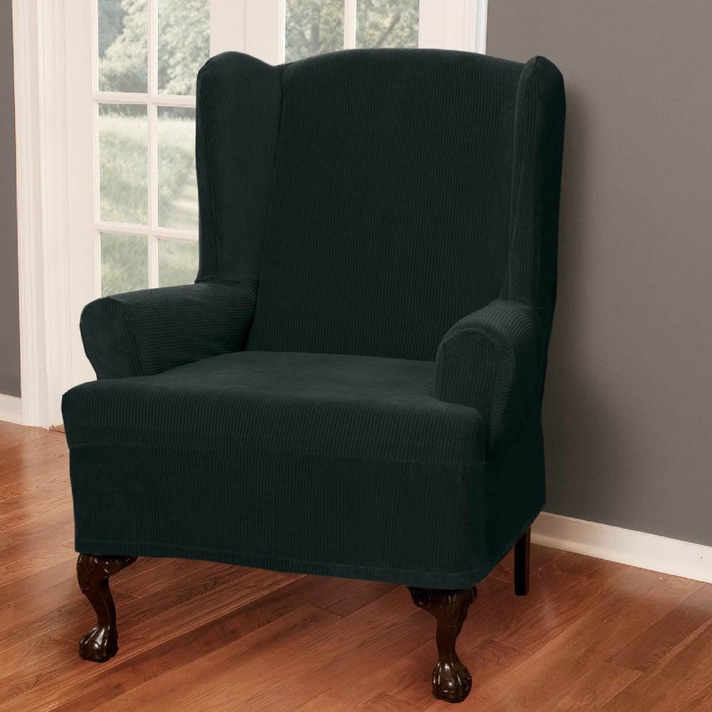 Maytex Collin Stretch Pinstripe 1 Piece Wing Chair