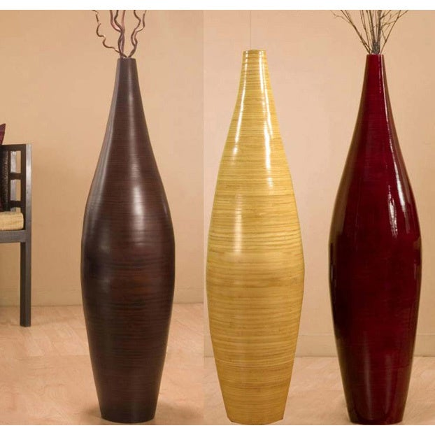 Handcrafted Bamboo Floor Vase And Branches Ebay