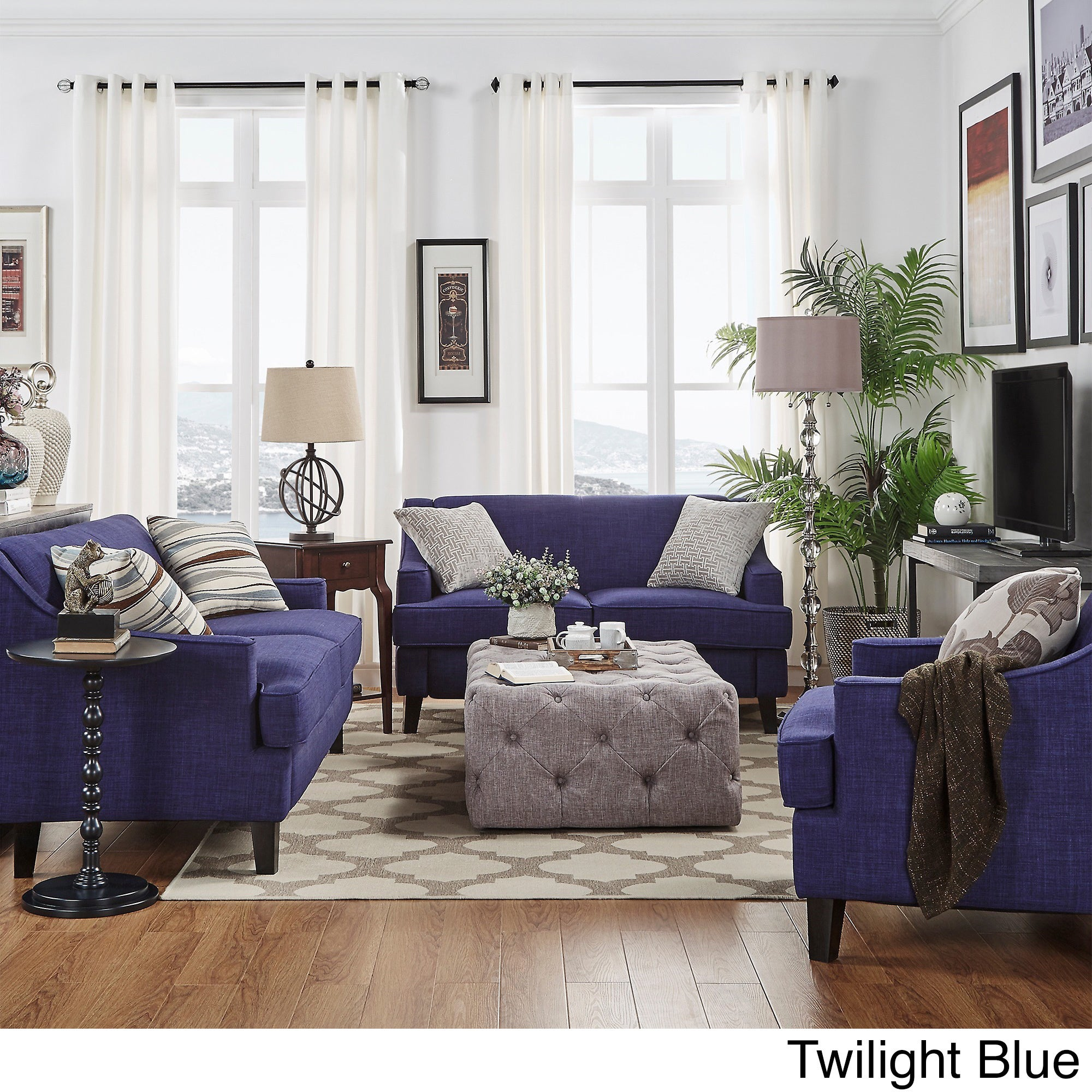 winslow concave arm modern 3 piece living room set by inspire q bold ebay. Black Bedroom Furniture Sets. Home Design Ideas