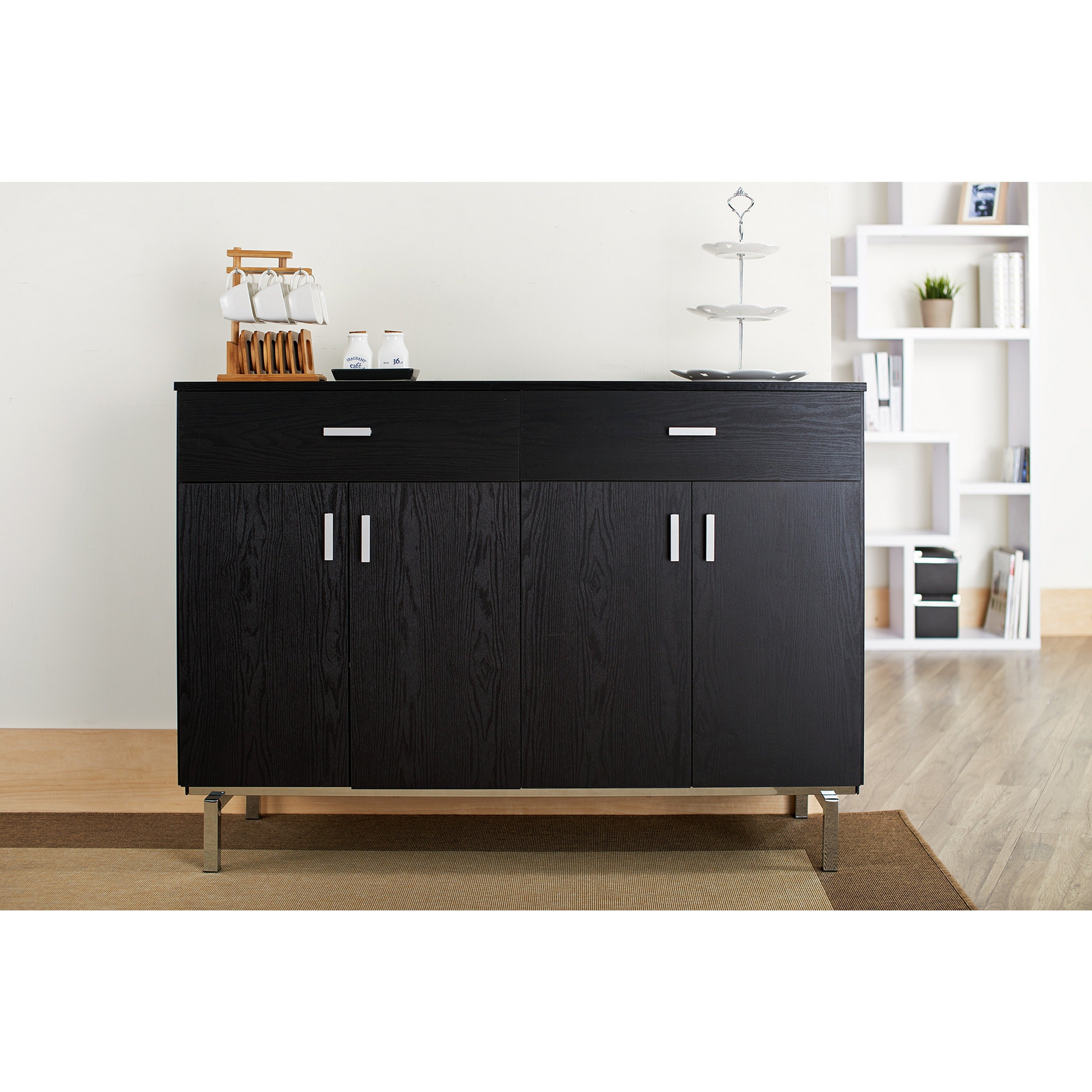 furniture of america mason black finish buffet dining - Black Sideboard Buffet