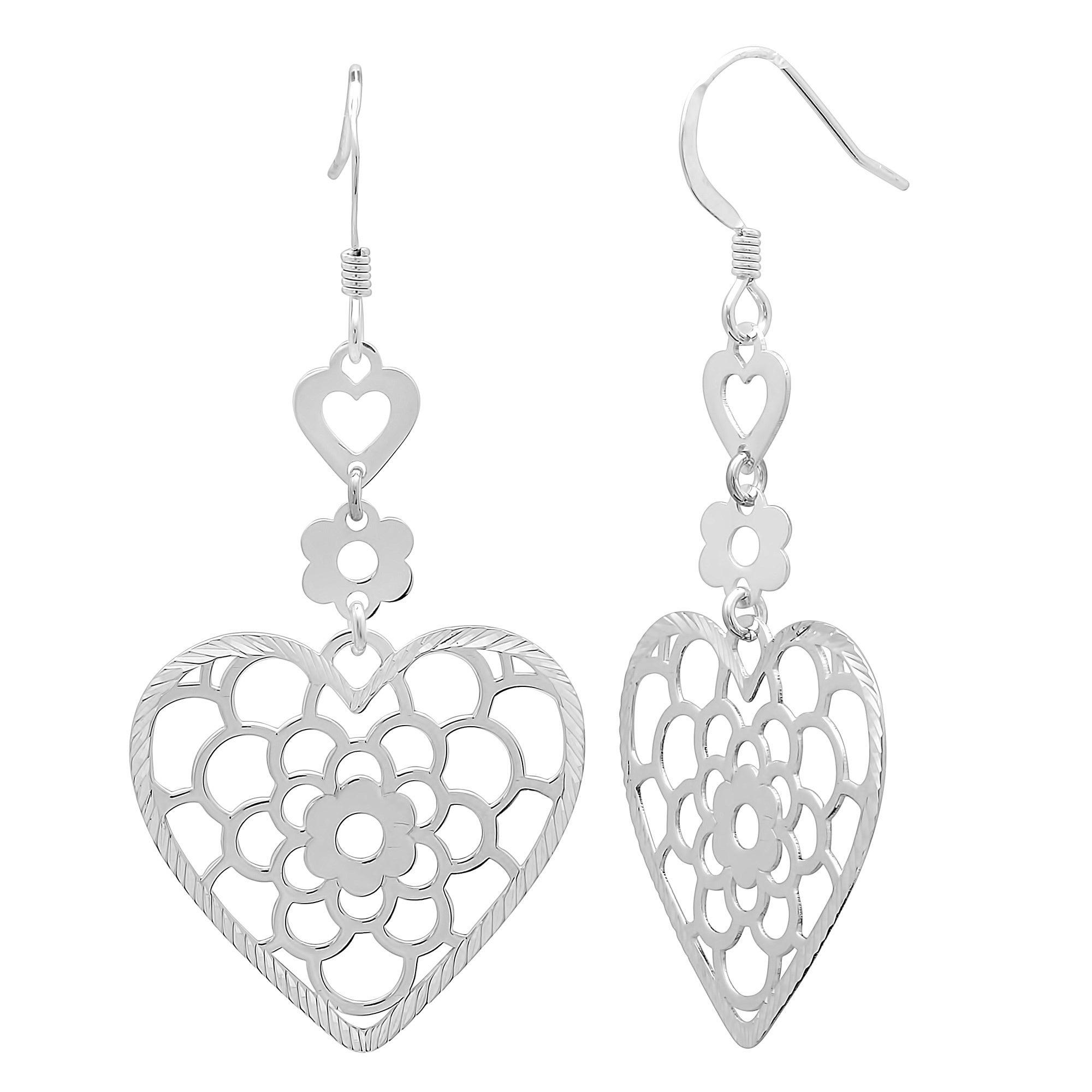 Sterling-Silver-Floral-Heart-Drop-Earrings
