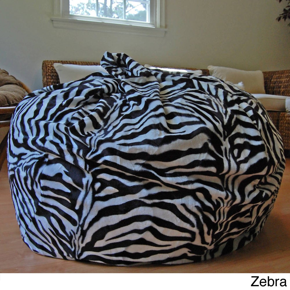 Remarkable Ahh Products Zebra Animal Print Fur Washable Large Bean Bag Chair Ocoug Best Dining Table And Chair Ideas Images Ocougorg