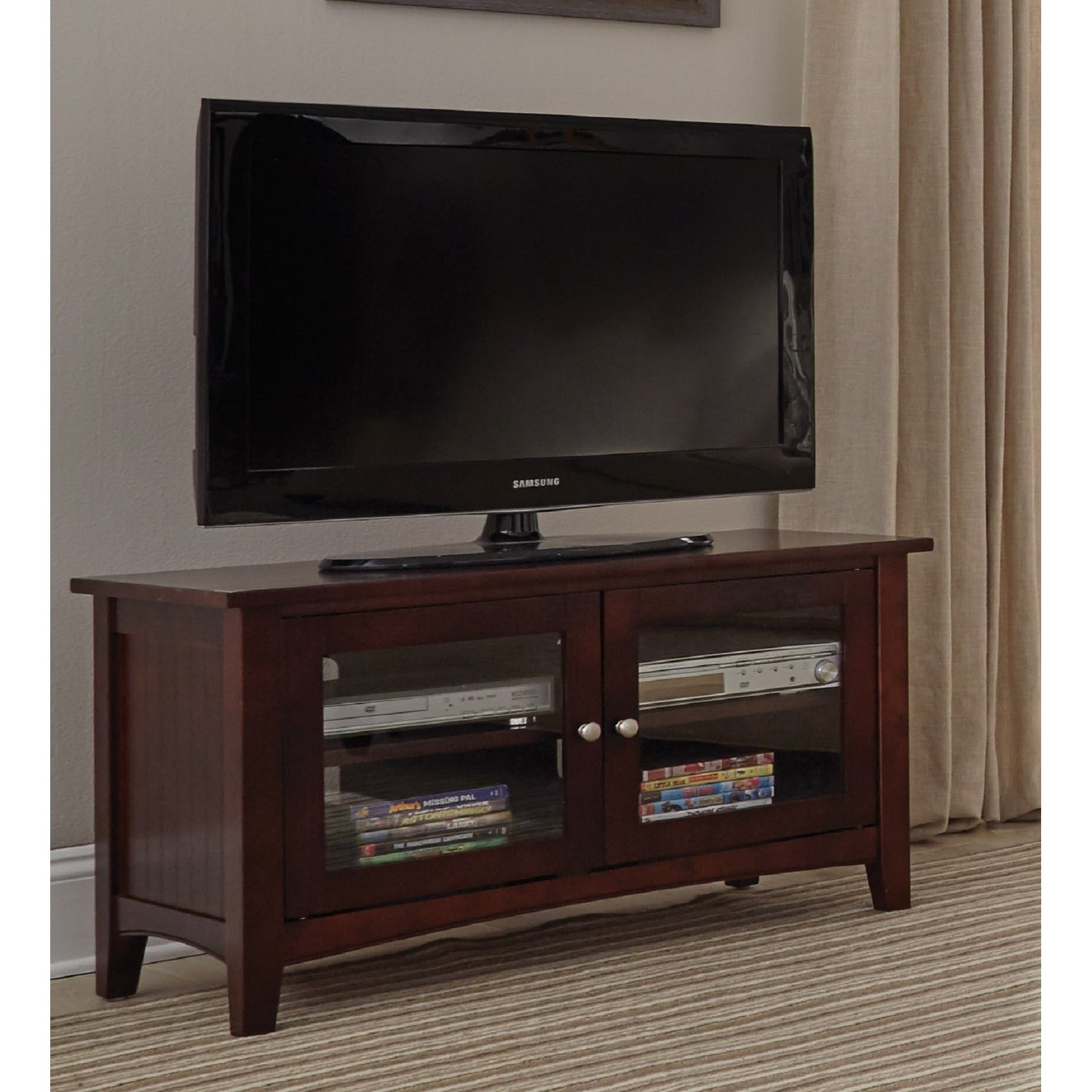 Copper Grove Taber 36 Inch Wood Tv Stand With Glass Doors Ebay