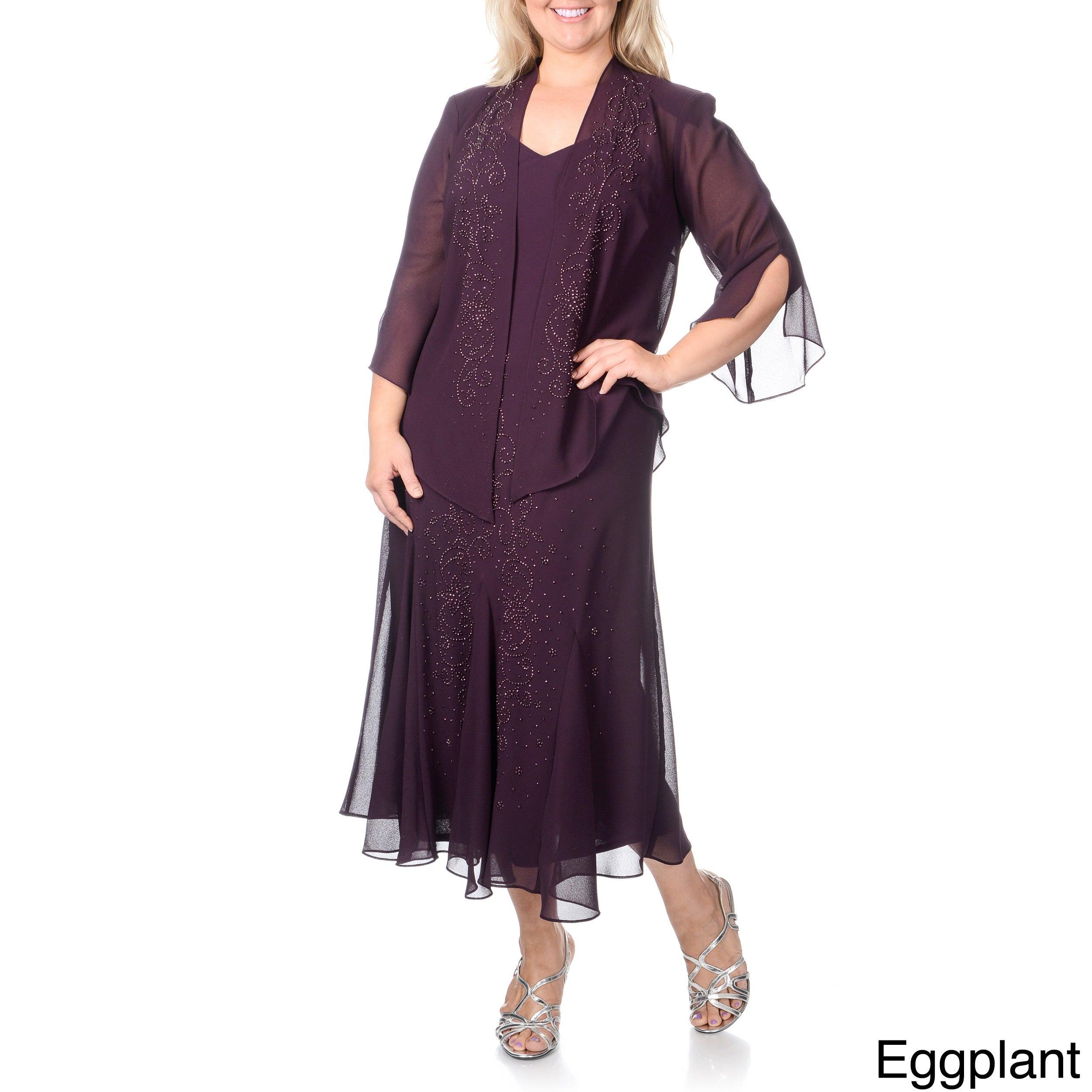 R&m Richards Eggplant Social Dress With Jacket Sz 16w 6473 | eBay