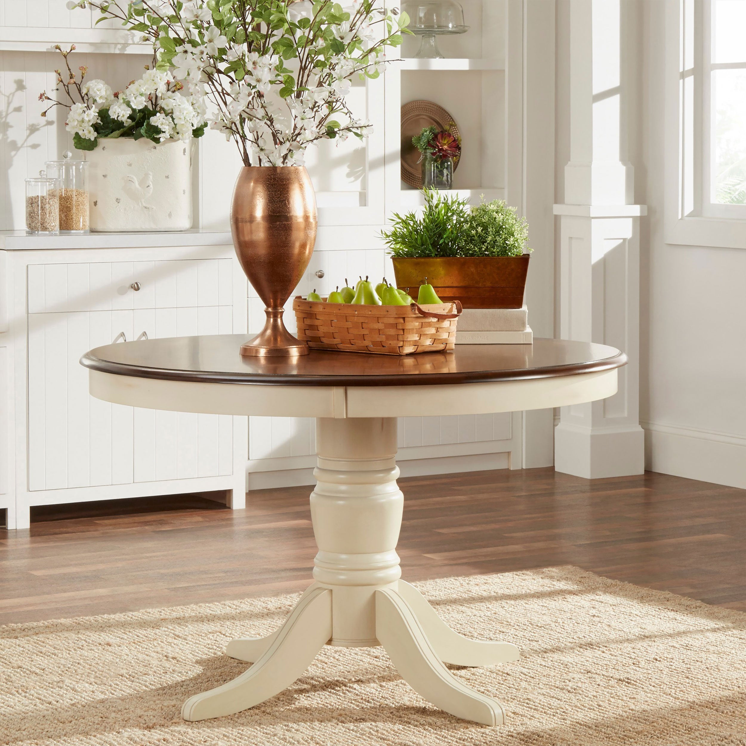 Mackenzie Country Antique Two Tone Dining Table By Inspire