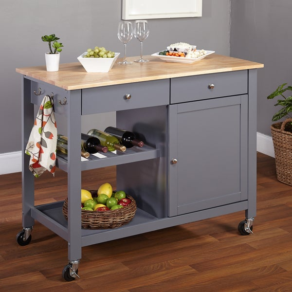 overstock kitchen islands simple living columbus grey kitchen cart with wood top 14494